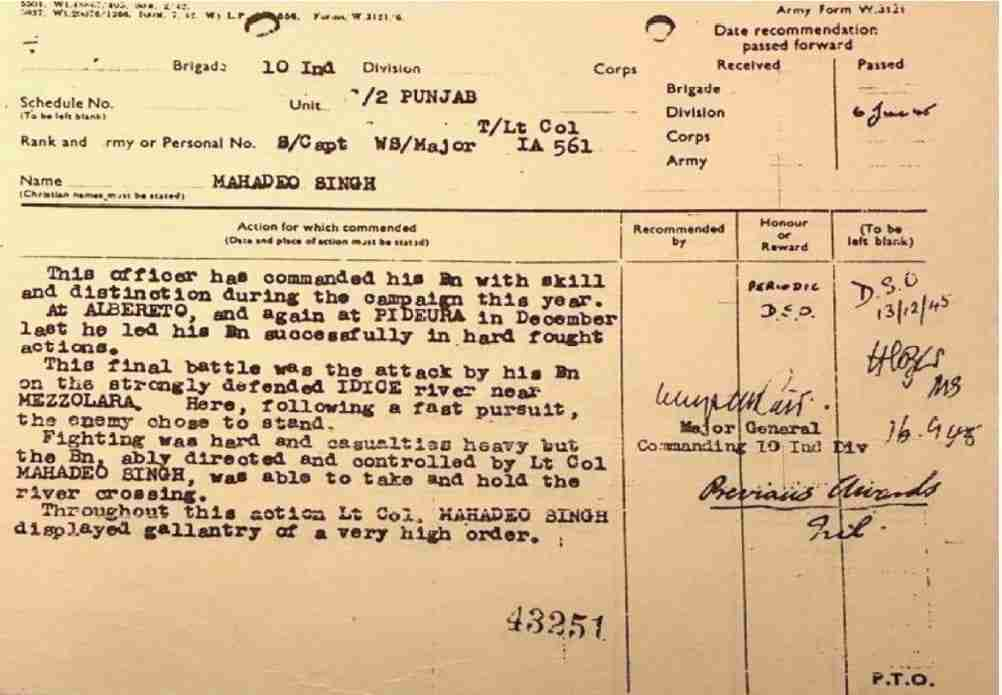 Citation dated 6th June 1945
